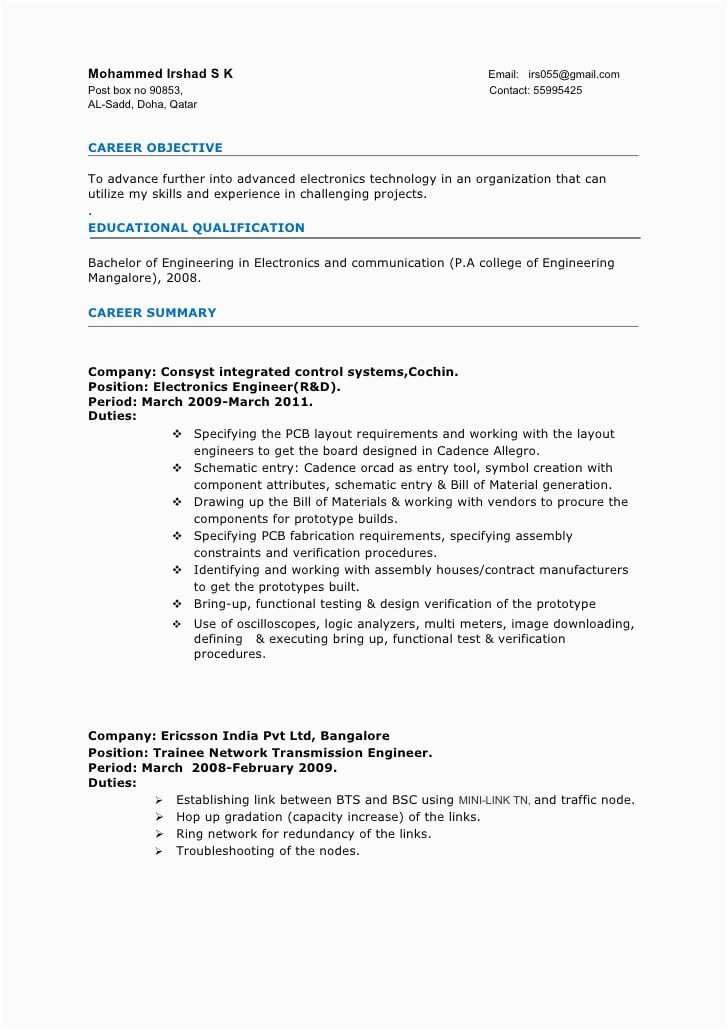 sample resume format for 3 years