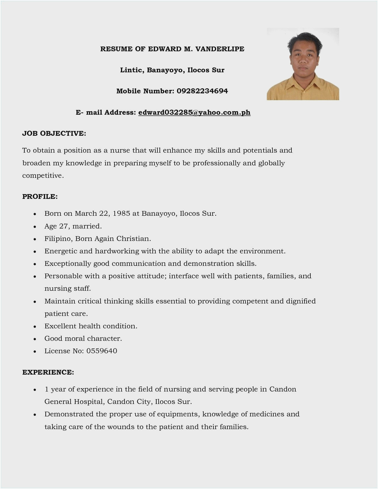 resume with picture philippines
