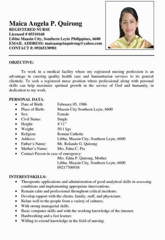 Sample Resume format for Nurses In the Philippines Sample Resume Registered Nurse Philippines