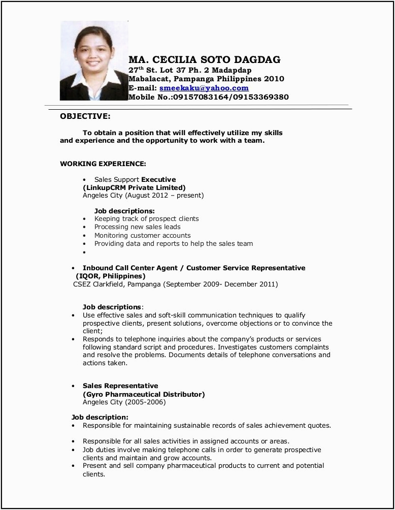sample resume staff nurse philippines