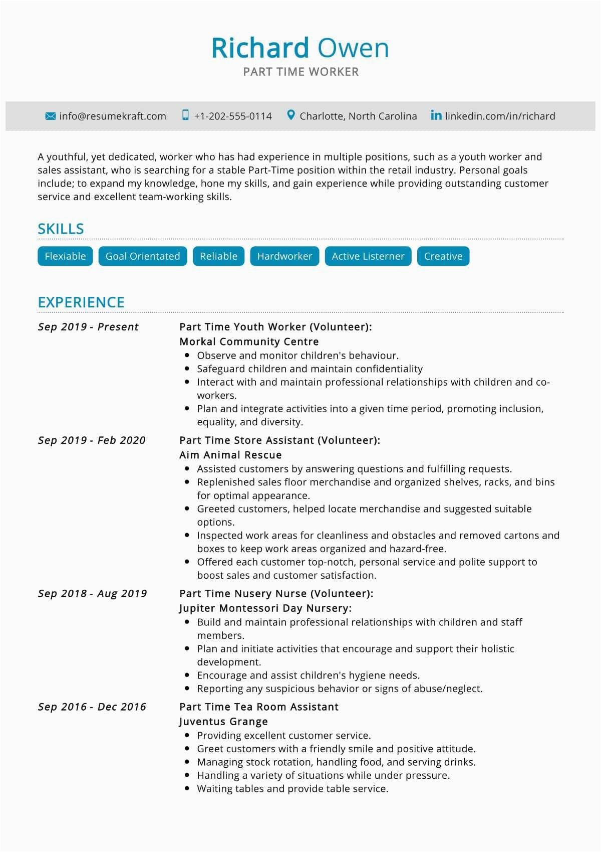 Sample Resume with Part Time Job Experience Part Time Job Resume Sample Resumekraft