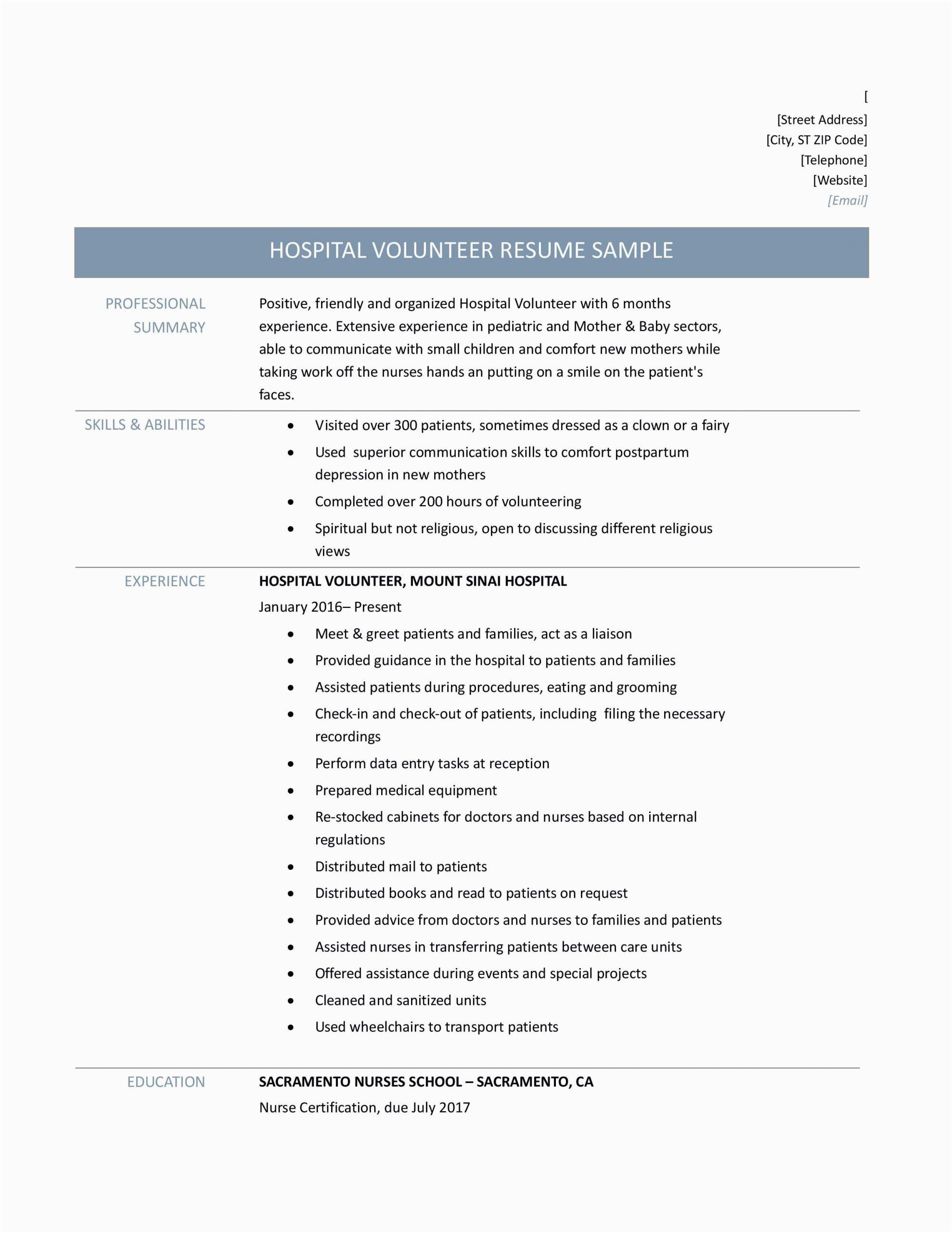 hospital volunteer duties resume