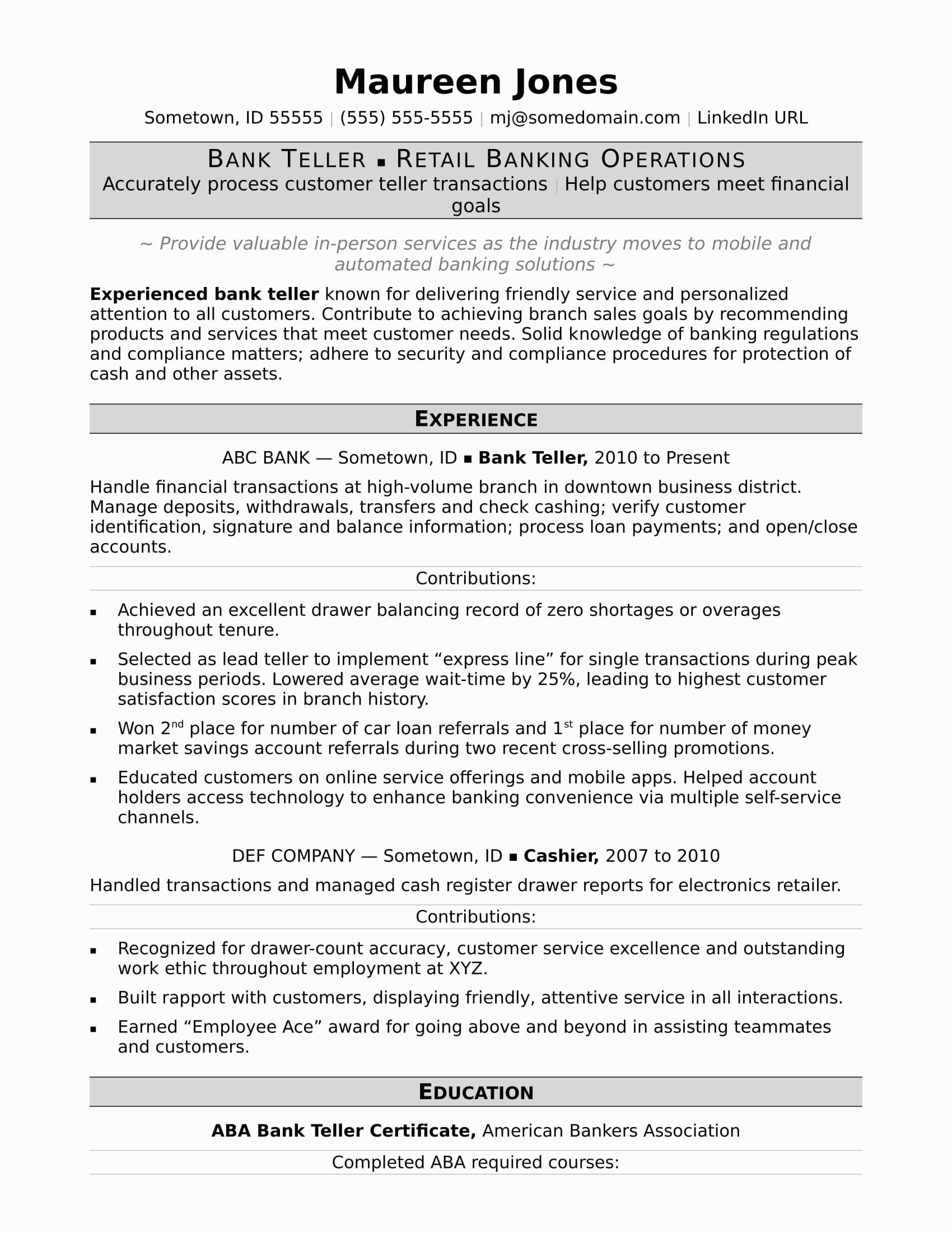 Sample Resumes for Bank Teller Positions Bank Teller Resume Sample
