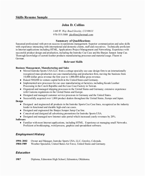 Sample Skills and Abilities for Management Resume Free 9 Resume Samples In Ms Word