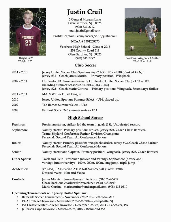 Sample soccer Resume for College Coaches 18 Best S Of soccer Player Resume Example Football