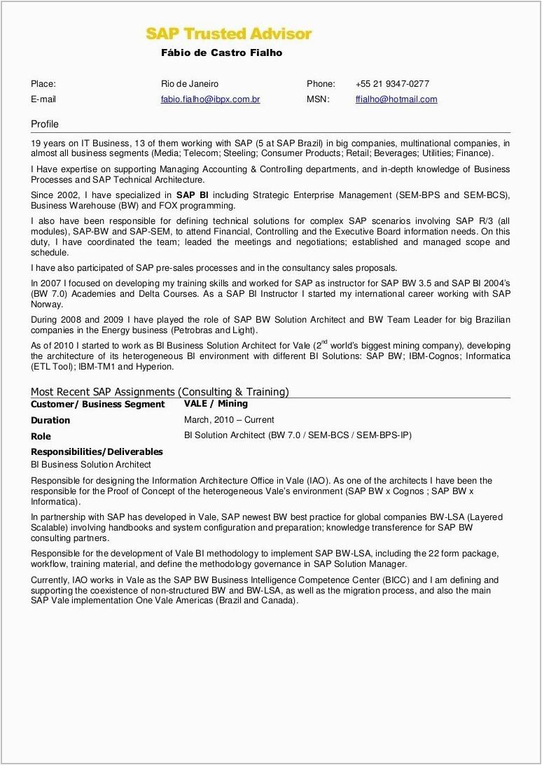 sample resume for sap fico consultant fresher