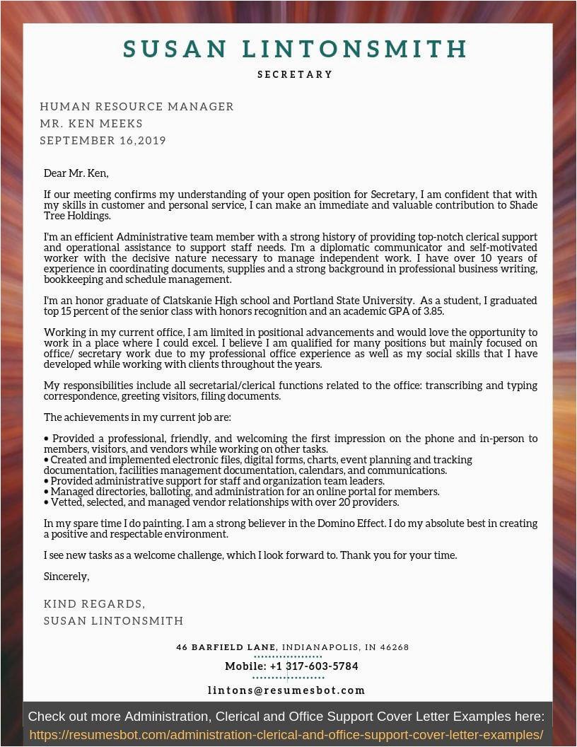 cover letter for secretary example