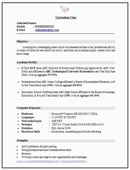 B Tech Ece Fresher Resume Sample Download Over Cv and Resume Samples with Free Download B