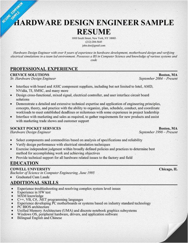 Electronics Hardware Design Engineer Resume Sample Hardware Design Engineer Resume Resume Panion
