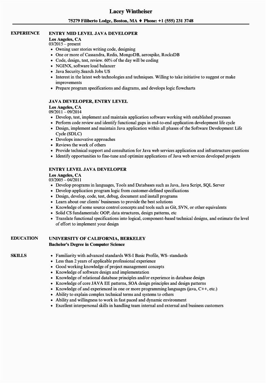 Entry Level Java Developer Resume Sample Entry Level Java Developer Resume Samples