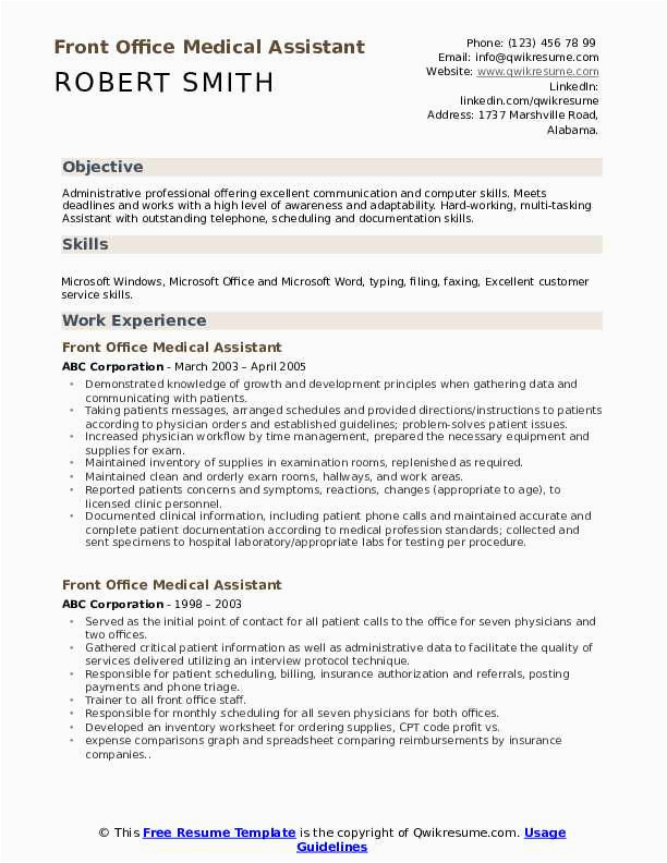 front office medical assistant