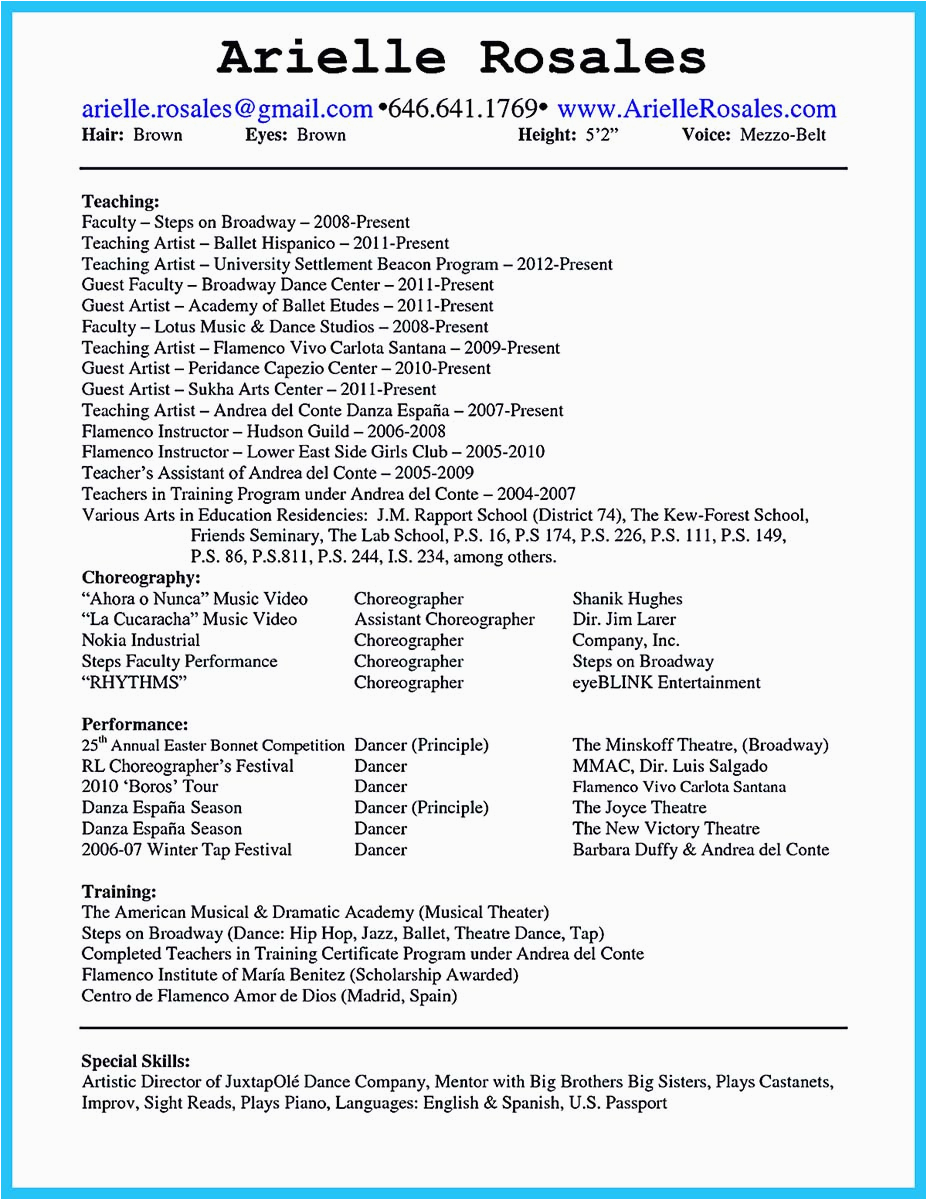 Sample Dance Resume for College Application the Best and Impressive Dance Resume Examples Collections