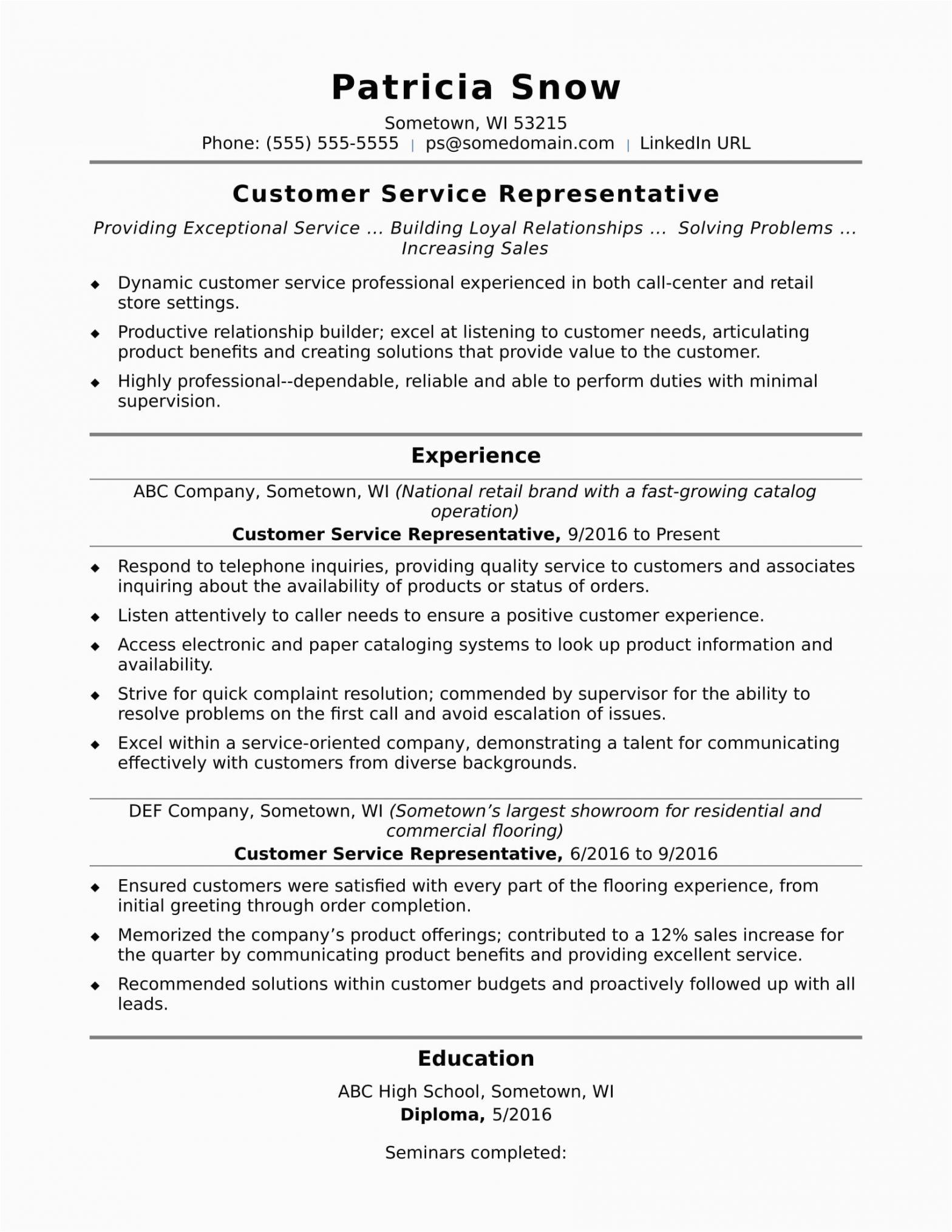 Sample Resume Customer Service Representative Skills Customer Service Representative Resume Sample