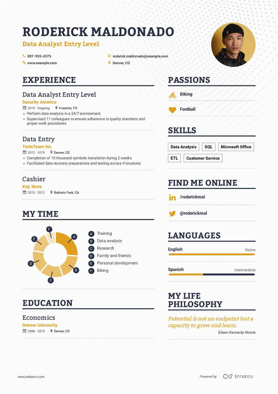 Sample Resume Entry Level Data Analyst Data Analyst Entry Level Resume Example and Guide for 2019