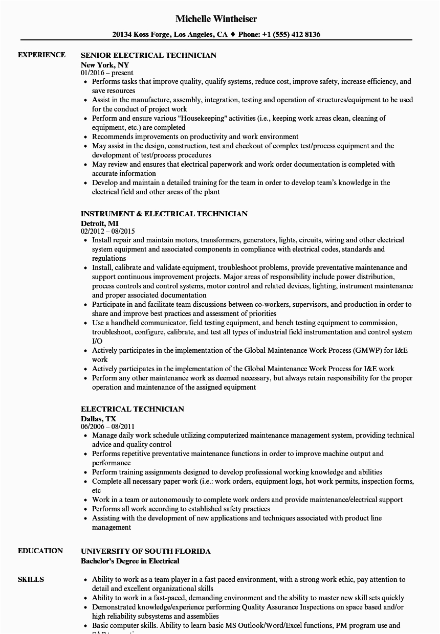 electrical technician resume example