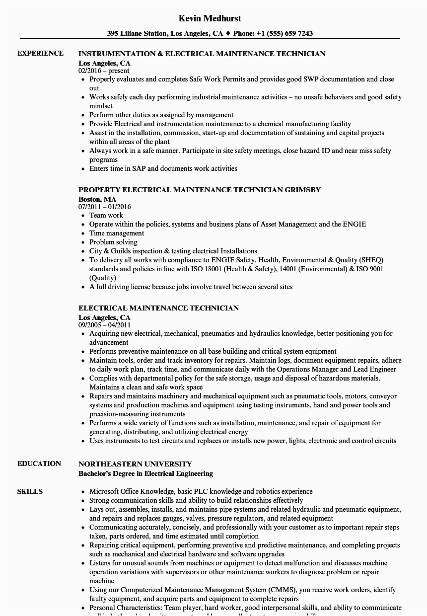 Sample Resume for Electrical Maintenance Technician Pdf 12 Electrical Technician Resume Example Radaircars