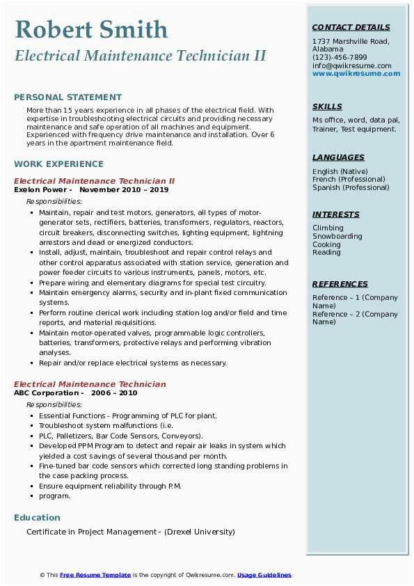 electrical maintenance technician