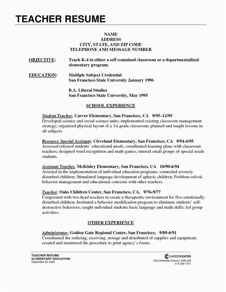 Sample Resume for Elementary Teachers In the Philippines New Free Teacher Templates