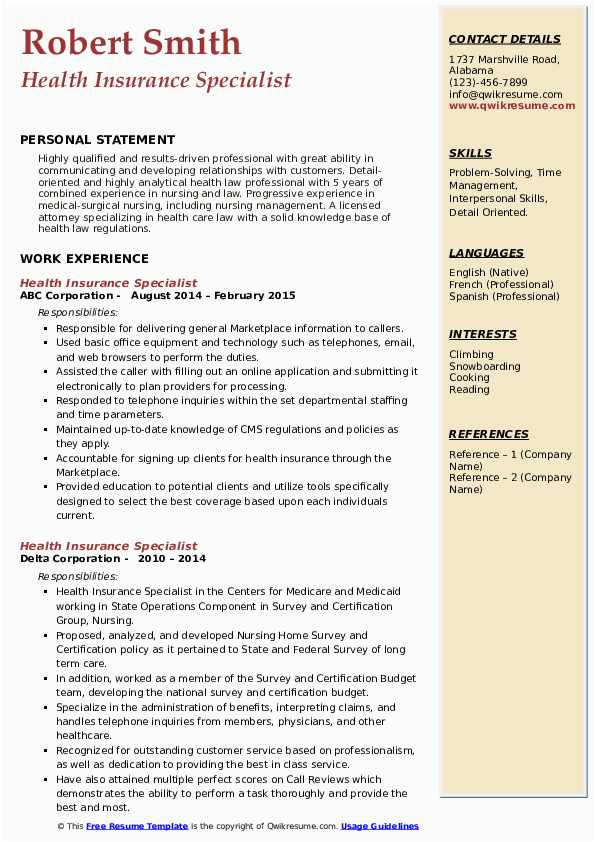 health insurance specialist