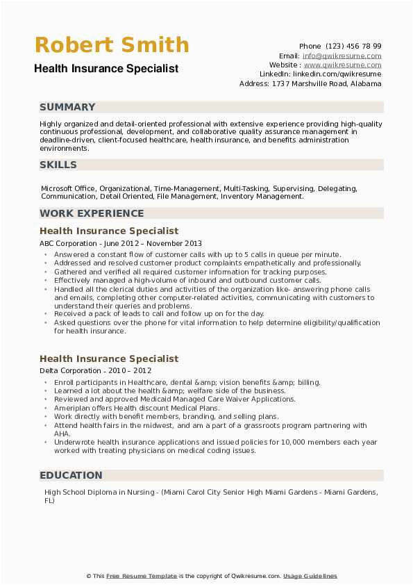 Sample Resume for Health Insurance Specialist Health Insurance Specialist Resume Samples