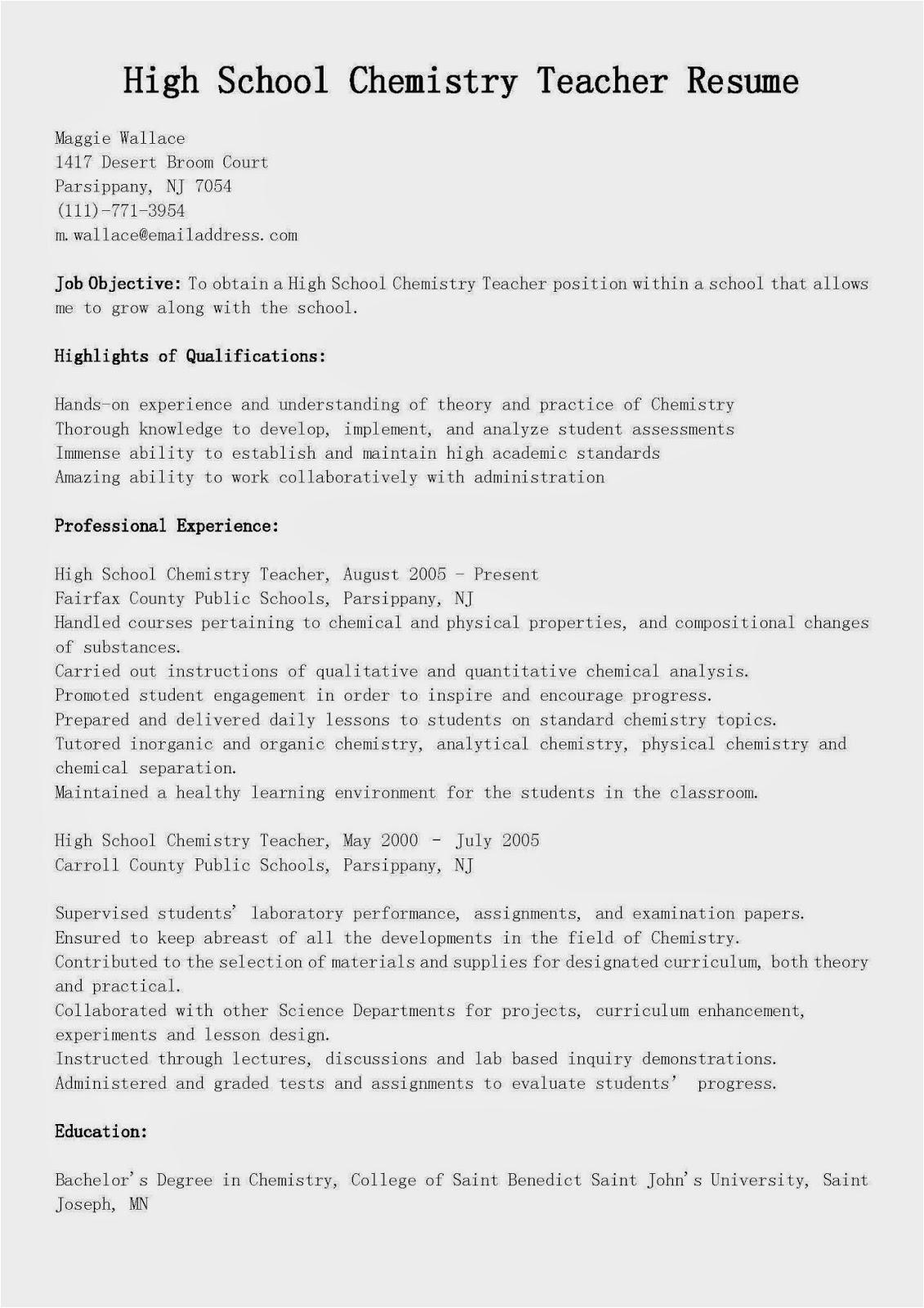 Sample Resume for High School Chemistry Teacher Resume Samples High School Chemistry Teacher Resume Sample