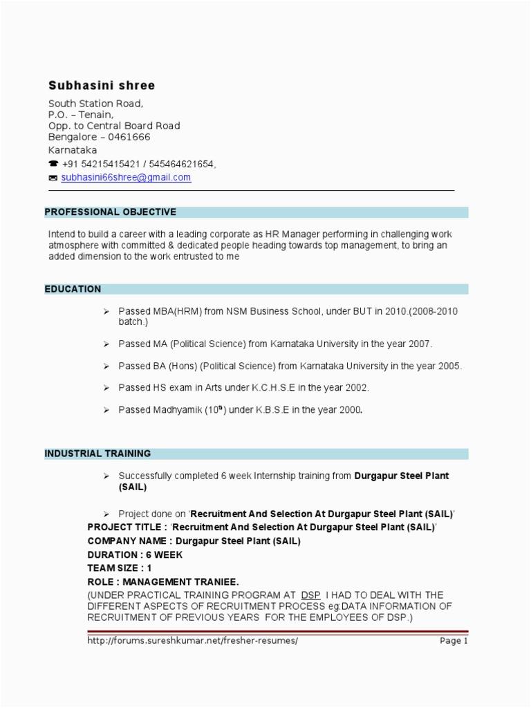 Fresher HR Resume format 4