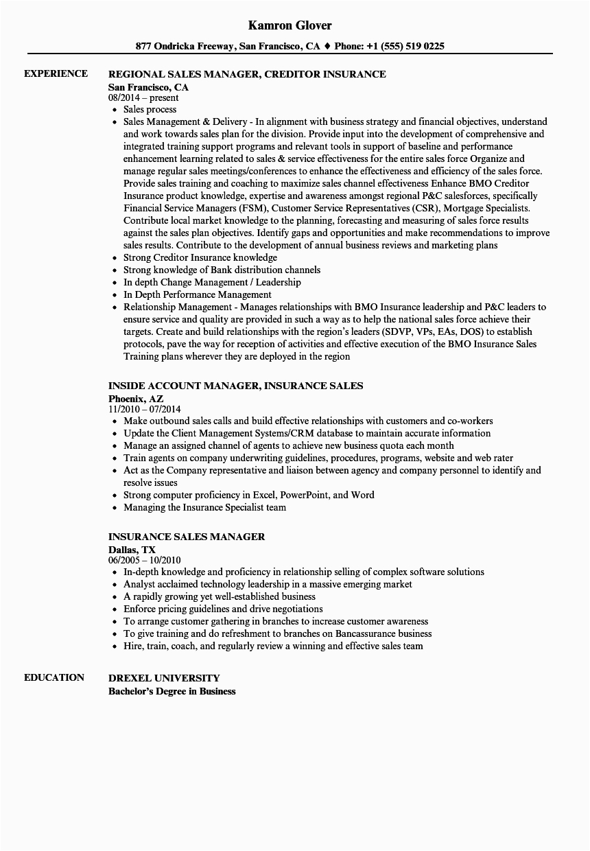 Sample Resume for Life Insurance Sales Manager Insurance Sales Manager Resume Samples