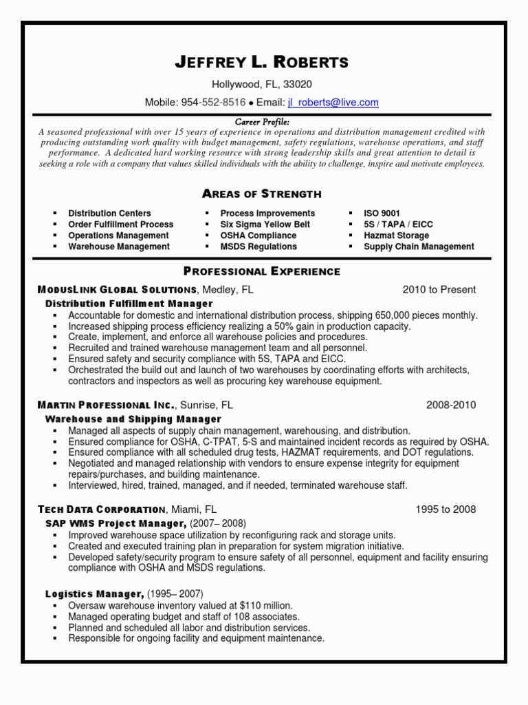 Sample Resume for Logistics and Supply Chain Management Pdf Distribution Logistics Supply Chain Management In Miami Ft