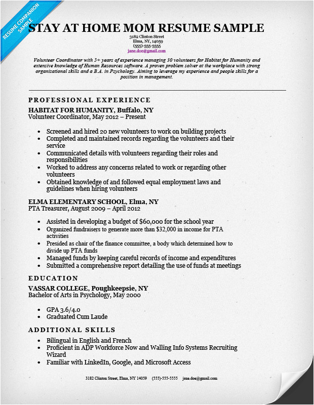 sample resumes for stay at home moms returning to work