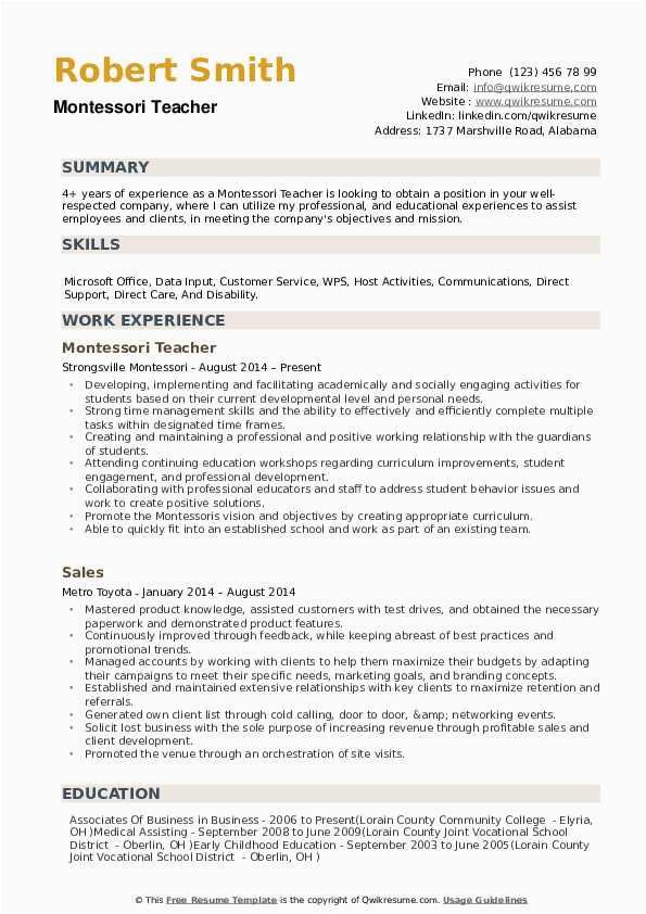 Sample Resume for Montessori assistant Teacher Montessori Teacher Resume Samples