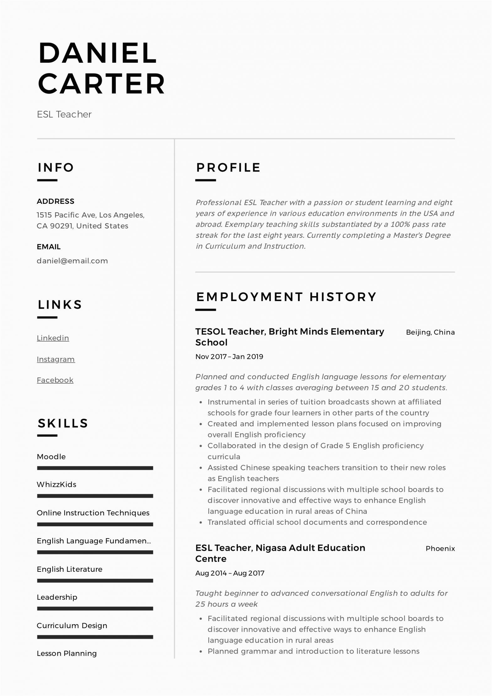 Sample Resume for Online Esl Teacher Esl Teacher Resume Sample & Writing Guide