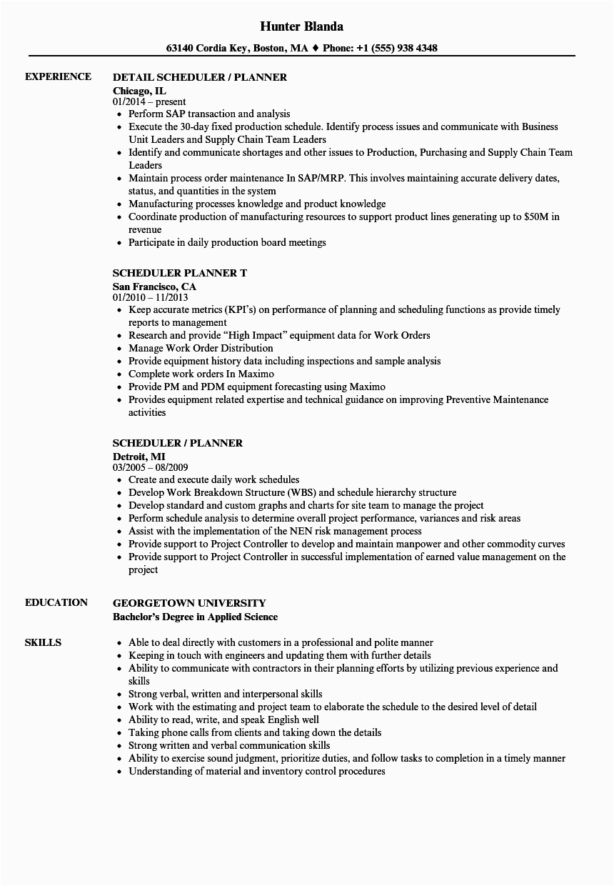 Sample Resume for Project Planner Scheduler Scheduler Planner Resume Samples