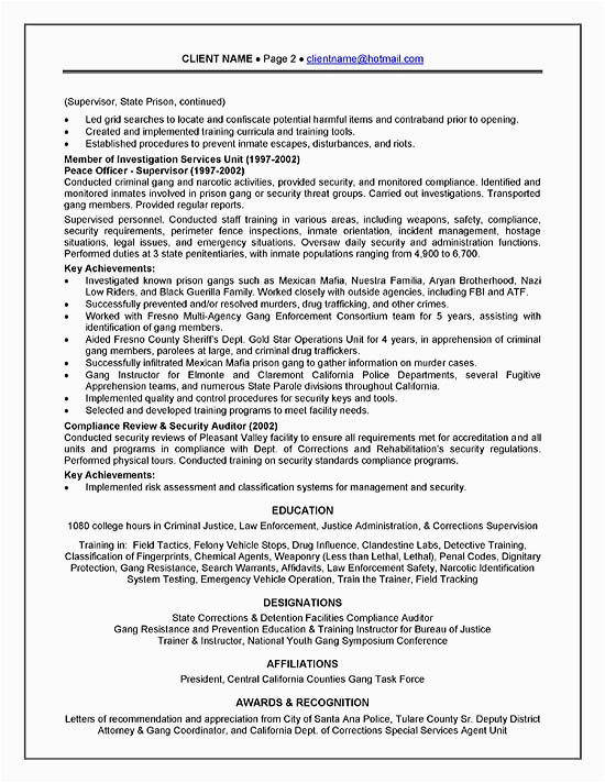 Sample Resume for Recently Released Inmates Corrections Ficer Resume Example