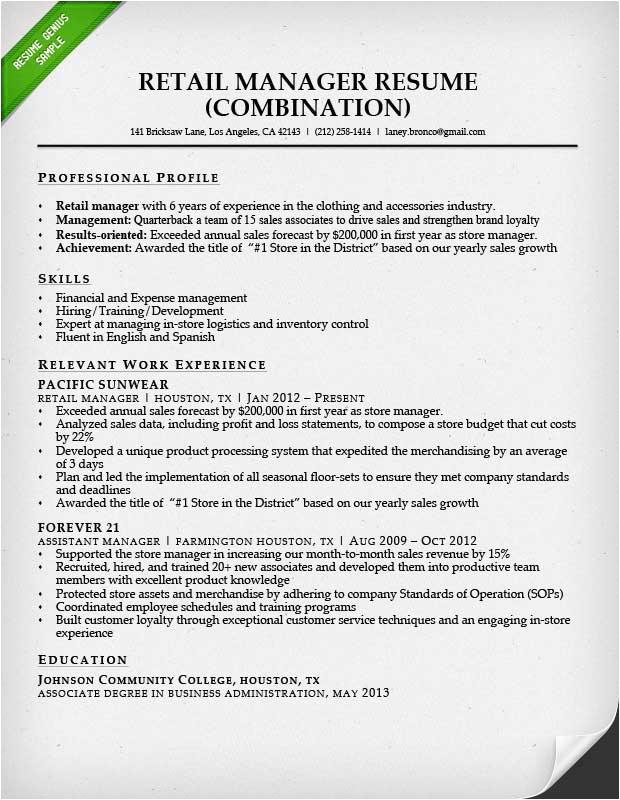 retail sales associate resume example
