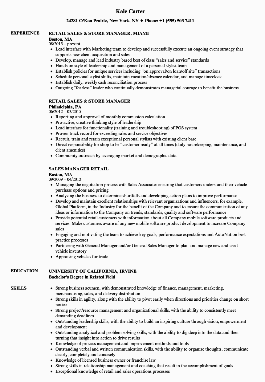 Sample Resume for Retail Sales Position Retail Sales Resume