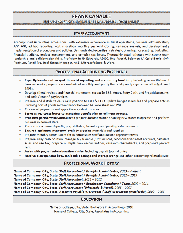 Sample Resume for Staff Accountant Position Staff Accountant Resume Example