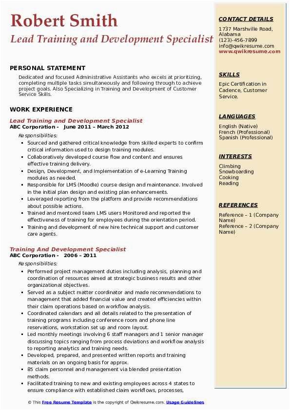 Sample Resume for Training and Development Specialist Pdf Training and Development Specialist Resume Samples