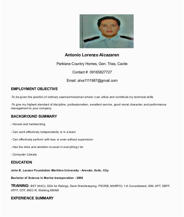 Sample Resume format for Seaman Deck Cadet Resume Seaman