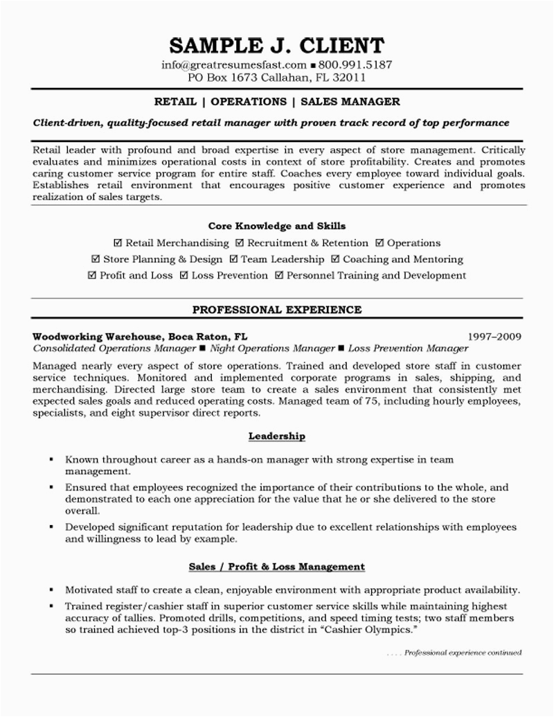 objective in resume for manager position