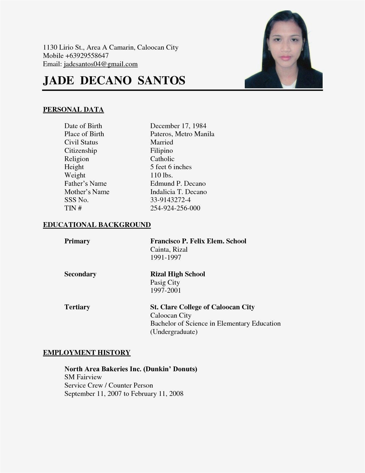 Simple Sample Of Resume for Job Application Job Application Simple Resume format Best Resume Examples