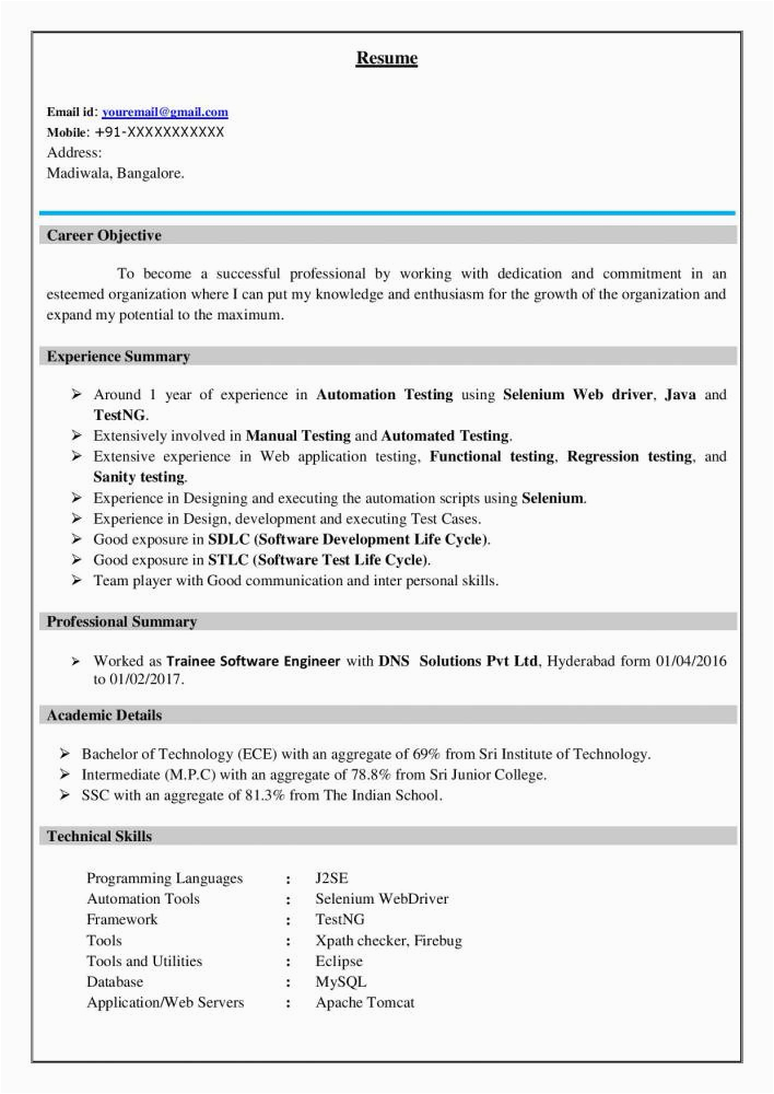 Software Tester Resume Sample for Freshers Best software Testing Resume Example for Freshers
